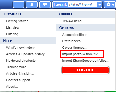 SharePad options menu