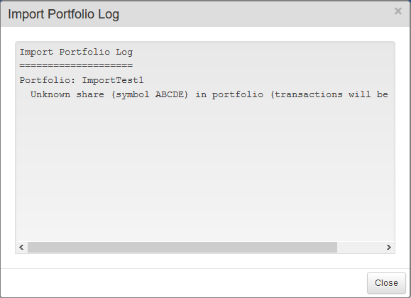 SharePad import portfolio log